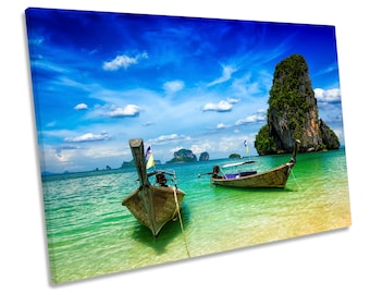 Thailand Beach Krabi Blue Seascape CANVAS WALL ART Framed Picture Print