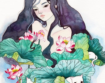 Watercolor painting art print. Play with waterlily.
