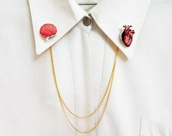 Human Heart&Brain Double Collar Pin Human Heart and Brain Collar Pin Gift For Her Gift Idea