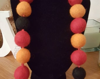 Red orange and black felt ball necklace