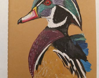 Hand Painted Wood Duck Moleskine Journal