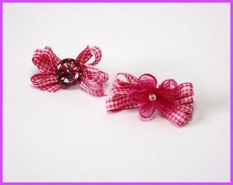 Pretty Pink Checkered Hair Clip Set of 2