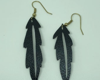 Feather faux leather earrings