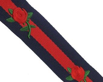 Striped Red Blue Trim Ribbon, Petersham Grosgrain Ribbon Trim with Embroidered Flowers, DIY Choker Trim, DIY Belt Trim