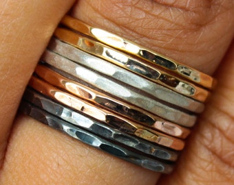 Hammered Mixed Metal Ring Set Rose Gold Ring Set Stacking Ring Set Tri Color Ring Sterling Silver Rings Rose Gold Rings Gold Filled Ring Set