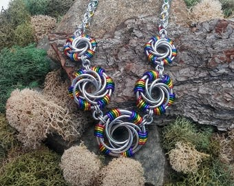 Chainmaille necklace, Rainbow necklace, Chainmaille jewelry, Rainbow jewelry, Rainbow chainmaille, Statement necklace, Christmas gift,