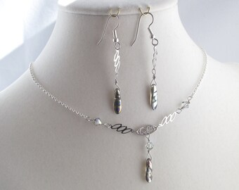 Delicate Silver Drops on Silver Links Necklace and Earrings set