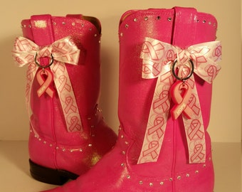 Size 8.5 B Upcycled Pink Breast Cancer Awareness Women's Justin Roper Boots
