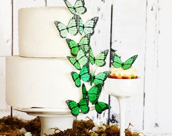 Edible Ombre Monarch Butterflies - Food Decorations - Wedding Cake Topper - Cupcake Decoration -  Large Green Shown