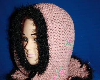 Pink old integrated collar hood Pixie Hat