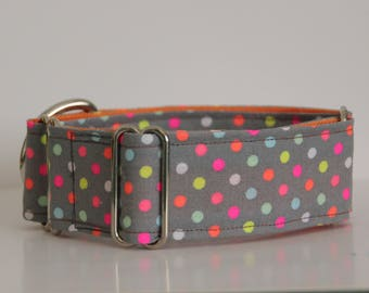 "Whippet - Fluoro Dots on Grey 1.5"" Martingale Collar"