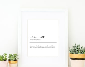 Teacher Definition Print. Printable Art, Wall Decor, Funny Print, Typography, Monochrome, Minimalist, Funny Gift, Gift for a Teacher