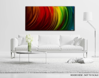 LARGE, Original ABSTRACT PAINTING, canvas, Wall Art, Modern, Contemporary, multi coloured, red, blue, yellow, Rainbow