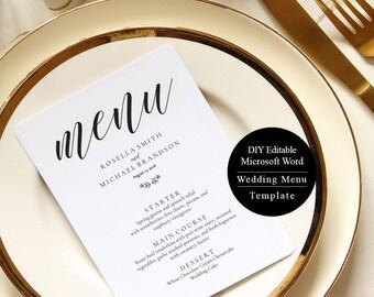 Wedding Menu, Printable Menu, Template, Rustic Wedding Menu, edit in word, print on Kraft, Instant Download, MSW88