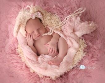 Crochet Newborn Lamb Bonnet- Newborn Lamb Bonnet - Newborn Photo Prop - Newborn Girl Hat - Newborn Crochet Hat - Newborn Lamb Hat - Baby