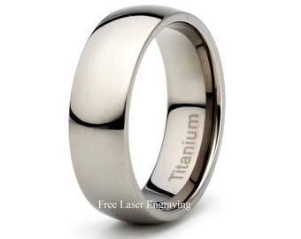 Titanium Wedding Band Polished Domed 7mm Width Mens Wedding band Anniversary Ring Custom Engraving