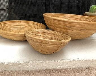 Vintage set of 3 wood baskets/bowls