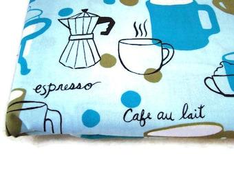 Robert Kaufman Metro Cafe Coffee Latte Espresso Mugs Fabric