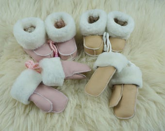 shoes boots gloves fur wool set newborn kids winter set shoes boots gloves 100% real leather  sheep's wool traditional manual work  handmade