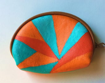 Orange Round Coin Purse / Hand Painted Purse / Abstract Geometric Design