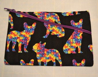 Multicolored French Bulldogs on Quilted Zippered Clutch