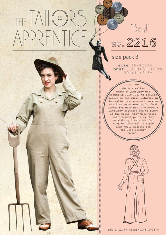 1940s Sewing Patterns – Dresses, Overalls, Lingerie etc Australian land army women overalls sewing pattern  WWII digging your victory gard  AT vintagedancer.com