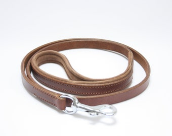 Rustic Brown Sheep Leather Leash / Lead with Soft Suede Padding - Whippet, Greyhound, Lurcher, Italian Greyhound Saluki Sighthound Dog