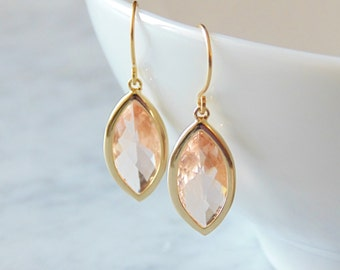 Gift Peach earrings Peach wedding jewelry Champagne earrings Blush earrings Dangle earrings Bridal earrings Bridesmaid earrings Gift