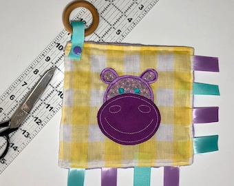 Hippo Taggy Teether Toy, Wooden Teething Ring, Taggy, Paci Holder, Baby Toy, Tag Toy, Tag Blanket,
