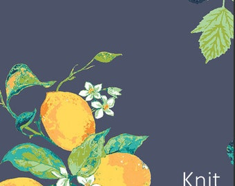 Frutteria Bleu in Knit-NEW citrus and berries on blue-Spring Knit-Jersey KNIT cotton Lycra 95/5 Art Gallery Jersey Stretch Fabric-choose cut