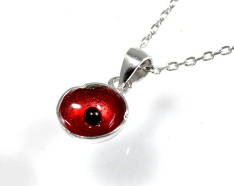 Very Tiny Little Poppy Blossom Flower Enamel Necklace in Sterling Silver 16'' - 18''