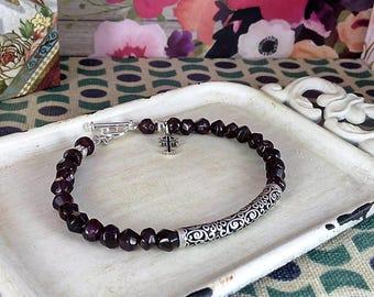 Handmade Garnet & Silver Bracelet