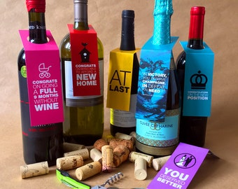 1A–Say congratulations with wine tags, celebration wine tags, bottle collar tags, hostess gift tag