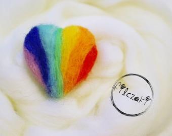 rainbow felted heart