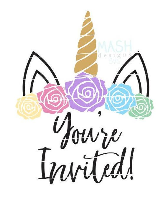 you re invited floral unicorn svg unicorn birthday rh etsy com you're invited free clip art you're invited clipart free