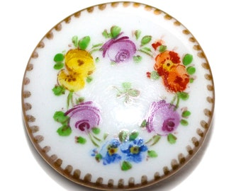 Button - Porcelain with Hand Painted Design Back-Marked #4  - Medium
