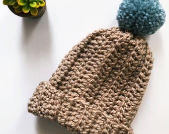 Chunky Hat, Brown Hat Women, Mens Hat, Chunky Slouchy Pom Beanie, Womens Hat, Crochet Beanie, Pom Pom, Winter Hat
