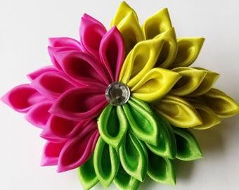 Kanzashi Fabric Flower Hair Clip - Floral Hair Clip - Hair Flower - Pink Flower Hair Clip - Pink Hair Clip - Kanzashi Clip