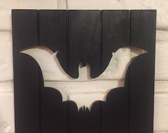 Wooden Panel Plaque w/ Bat Cutout