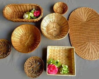 Vintage  wicker wall basket bohemian wall decor baskets