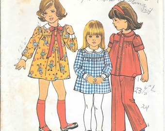 CLOSE OUT/ Simplicity 7063 1970s Childs Gathered Yoke Dress Top and Pants Vintage Sewing Pattern Size 3 Breast 22