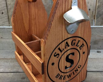 Personalized Wood Beer Caddy-Beer Carrier-Beer Caddy-bottle opener