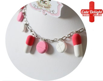 Happy Pills Necklace, red pills, white pills, pink pills necklace, custom pills neckalce,polymer clay pills,fimo pills,unique pills necklace