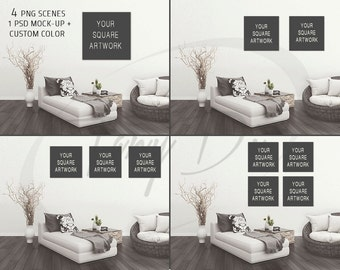 Living Room #3 Wall Interior, Square Canvas, Set of 2, 3 & 4 Square Canvases, Wall Art Display Mockup PNG PSD PSE, Sofa Small table
