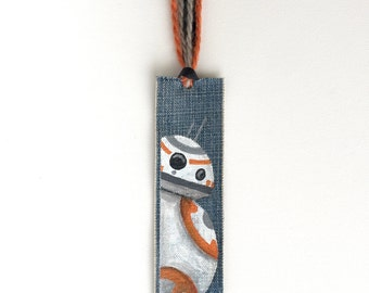 BB8 Star Wars Inspired Bookmark, Hand-Painted Sci-Fi Geek Gift, Upcycled Blue Jeans Bookmark, Droid Bookmark, Reading Reward, Nerd Gift