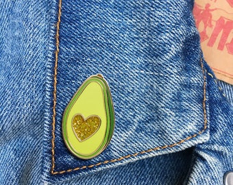 Avocado Glitter Heart Pin, Hard Enamel Pin, Lapel Pin, Foodie, Gift, Jewelry, Art (PIN137)
