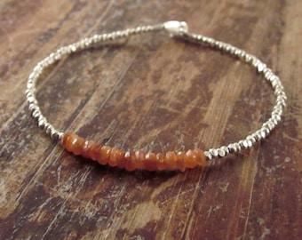 Sunstone Bracelet Sunstone Bracelets Beaded Bracelets Womens Gift Boho Jewelry Hill Tribe Silver Bead Bracelet Boho Jewelry Boho Bracelet