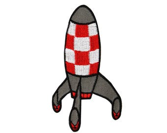Retro Rocket Ship Missile Iron-On Patch Cool Kid Space Craft Decoration Applique