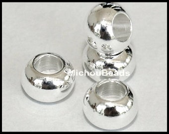 25 SILVER 6mm Rondelle Spacer Beads - 6x4mm Large 3mm Hole Shiny Silver Plated Brass Spacer Round Metal Beads - USA Wholesale Beads - 5507