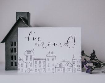 I've moved! Pack of five new address notecards with Kraft envelopes